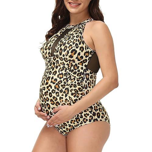 Maacie One Piece Maternity Swimsuit Deep V-Neck Ruffle Padded Women Monokini