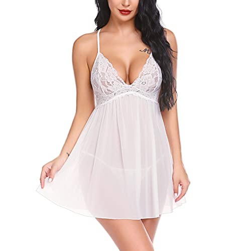 Decool Women Lingerie Lace Babydoll Dress Deep V Neck Sleepwear Strap Chemise Mini Teddy Nightgown