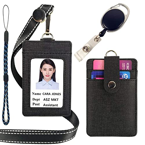Neck Lanyard Vertical Card Holder with Retractable Badge Reel for Bank Card Offices ID Card Credit Card Black Viaky Leather ID Badge Holder with 5 Card Pockets